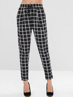 Pantalones De Cuadros De Cintura Media - Negro S