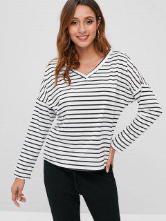 Drop Shoulder V-neck Striped T-shirt - Multi S