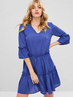 Ruffles V Neck Tunic Dress - Blue L