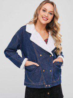 Adjustable Fitness Fleece Denim Jacket - Denim Dark Blue M