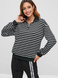 Half-zip Striped Sweatshirt - Black 2xl