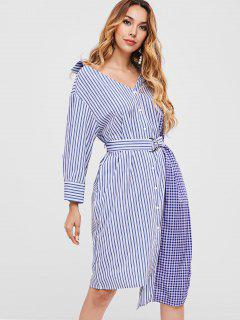 Striped Asymmetric Belted Shirt Dress - Multi M