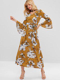 Floral Choker Flare Sleeve Maxi Dress - Caramel M