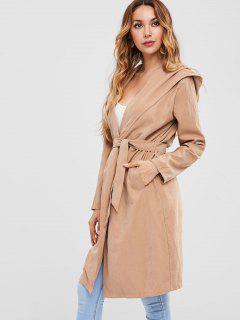 Knee Length Hooded Wrap Coat - Camel Brown M