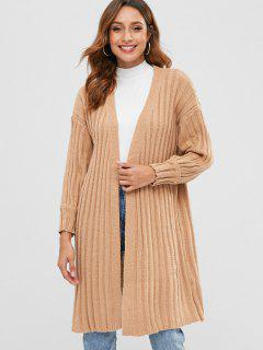 Ribbed Longline Cardigan With Open Front - Apricot