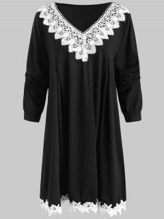 Crocheted Trim Plus Szie Tunic Dress - Black 2x