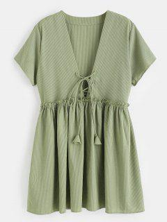 Lace-up Striped Smock Dress - Camouflage Green M