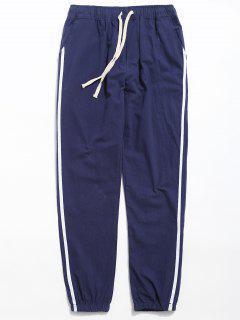 Drawstring Side Stripe Casual Pants - Blue Xl