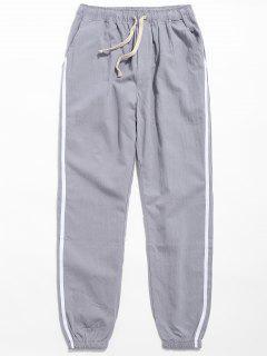Drawstring Side Stripe Casual Pants - Light Gray M