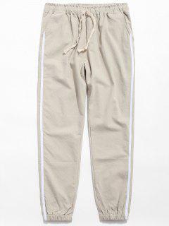 Drawstring Side Stripe Casual Pants - Khaki L