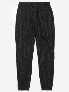 Printed Drawstring Waist Casual Pants - Black L