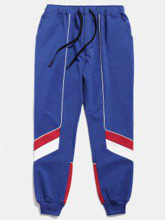 Color Block Drawstring Casual Pants - Blue L