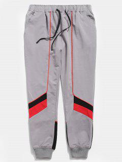 Color Block Drawstring Casual Pants - Gray M
