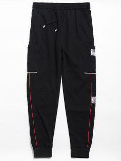 Elastic Waist Applique Casual Pants - Black L