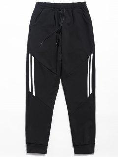 Drawstring Striped Print Casual Pants - Black L