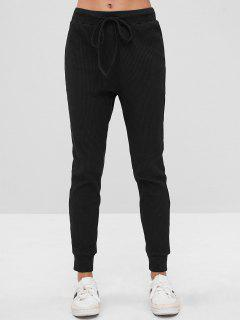 ZAFUL Drawstring Ribbed Sweatpants - Black L
