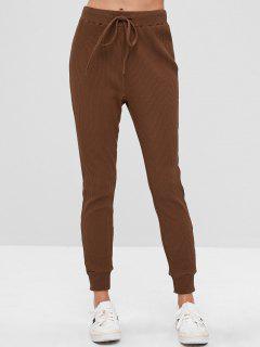 ZAFUL Drawstring Ribbed Sweatpants - Deep Coffee M