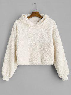 Drop Shoulder Fluffy Boxy Hoodie - Warm White M