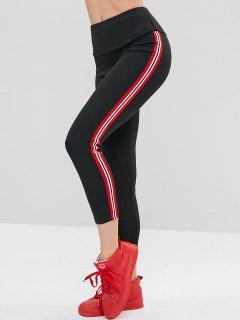 ZAFUL Sporty Side Stripe Tights Leggings - Black S