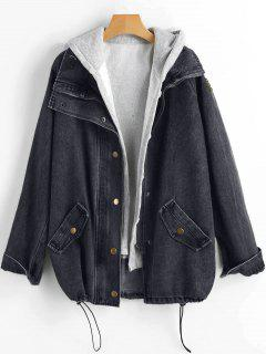 Button Up Denim Jacket And Hooded Vest - Black 3xl