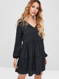 Long Sleeve Tiered Smock Dress - Black Xl