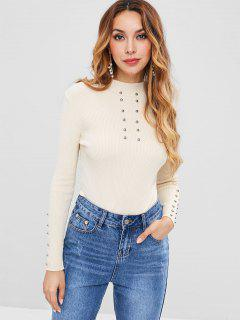 Pullover Beaded Ribbed Sweater - Warm White