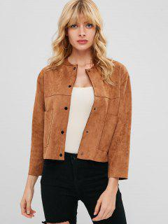 Faux Suede Snap Button Jacket - Coffee M