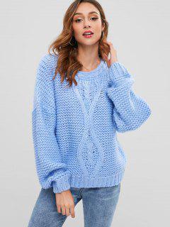 Suéter De Punto Grueso Hombro Gota - Azul Claro