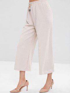 Wide Leg Ribbed Pants - Beige