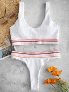 Bikini De Tanque Acanalado Con Ribete De Rayas - Blanco S