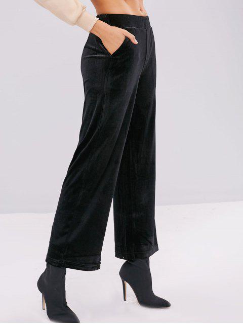 Pantalones de pierna ancha de terciopelo con bolsillos - Negro L Mobile