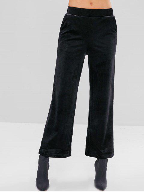 chic Velvet Wide Leg Pants with Pockets - BLACK L Mobile