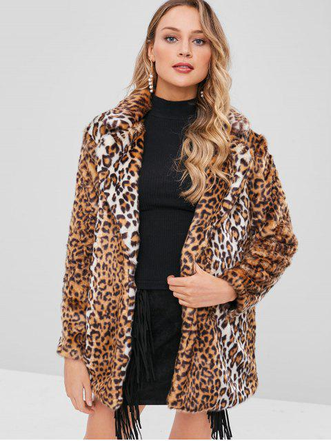 sale Open Front Leopard Fluffy Coat - LEOPARD M Mobile