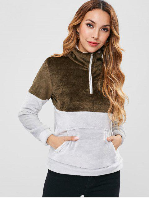 Sweat-shirt en Deux Couleurs en Peluche - Vert Camouflage XL Mobile