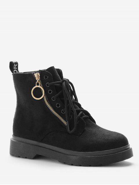 shop Retro Lace Up Suede Short Boots - BLACK EU 37 Mobile