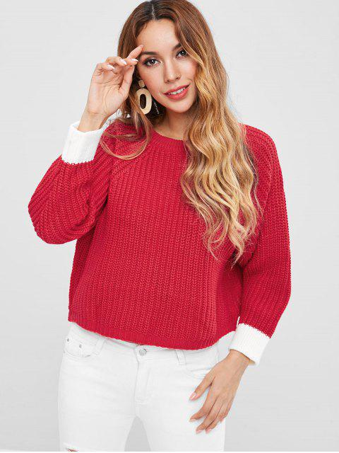 shop Raglan Sleeve Slit Crop Sweater - RED ONE SIZE Mobile