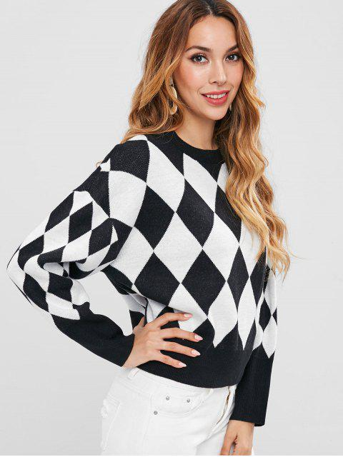 unique Two Tone Argyle Sweater - MULTI M Mobile