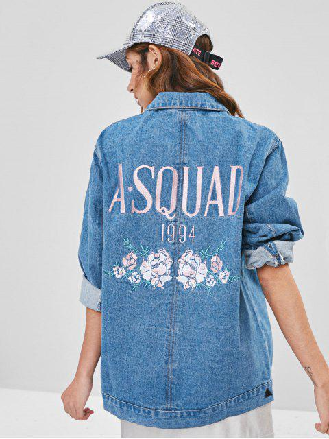 women Embroidered Jean Jacket - BLUE IVY L Mobile
