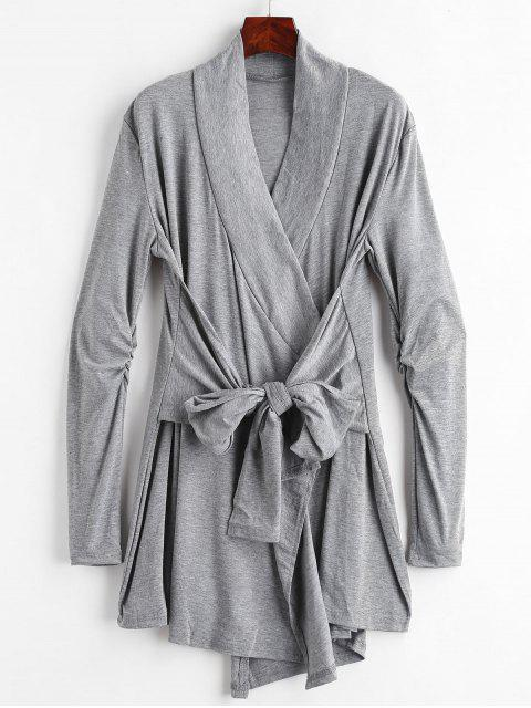 fashion Cinched Tie Front Coat - DARK GRAY L Mobile
