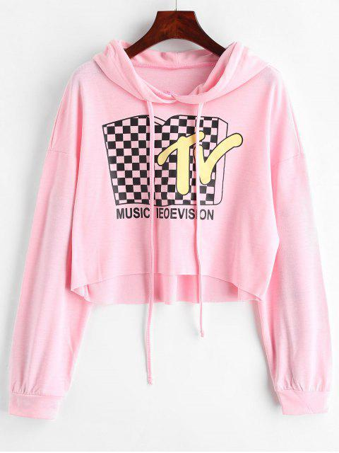 hot TV Graphic Cropped Hoodie - PIG PINK XL Mobile