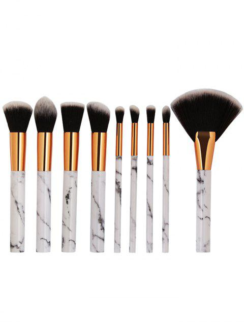 chic Portable 9Pcs Marbles Synthetic Fiber Hair Cosmetic Brush Set - PLATINUM  Mobile