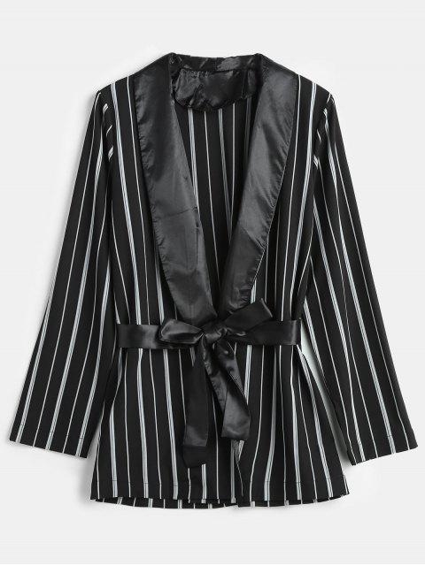 outfits Striped Shawl Collar Tunic Blazer - BLACK M Mobile