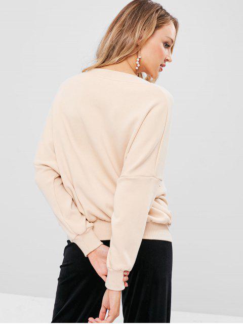 Sweat-shirt Pull-over Graphique à Col V - Kaki Léger M Mobile