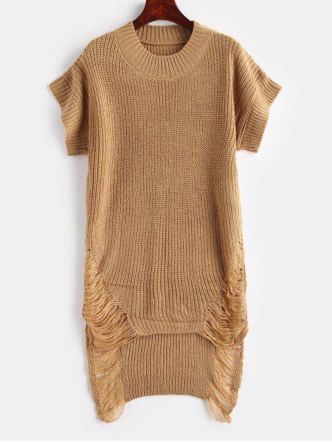 Distressed High Low Tunika Pullover - Braunes Kamel  Eine Größe Mobile