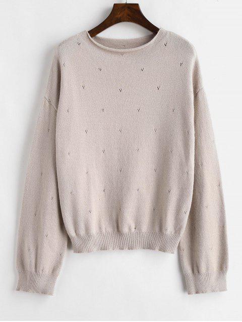 Plain Slash Neck Pullover - Sakura Rosa Eine Größe Mobile
