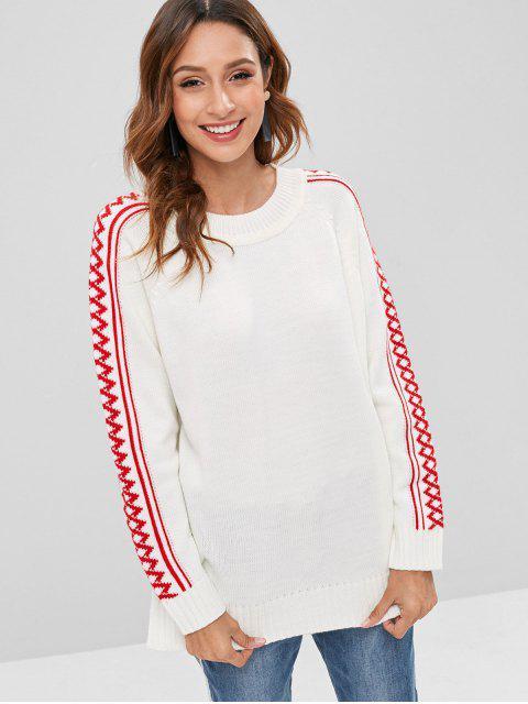 Raglanärmel Geometrischer Pullover - Weiß Eine Größe Mobile