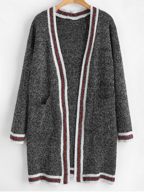 Gestreifte, offene Cardigan mit offener Front - Kohle Grau Eine Größe Mobile