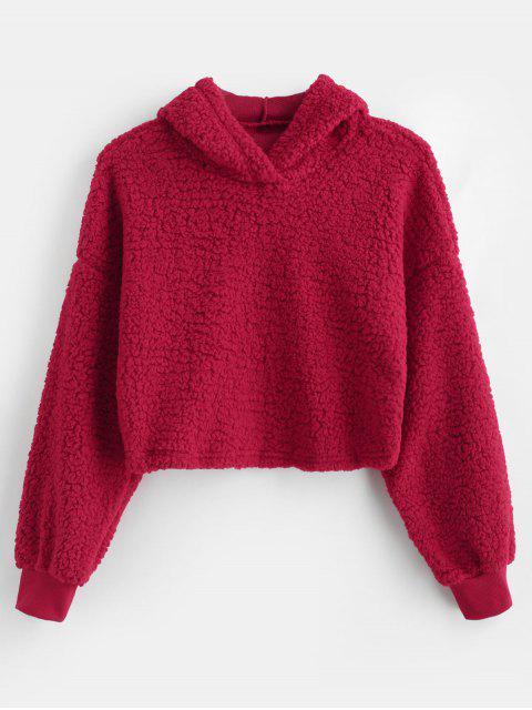 Drop Shoulder Fluffy Boxy sudadera con capucha - Rojo M Mobile