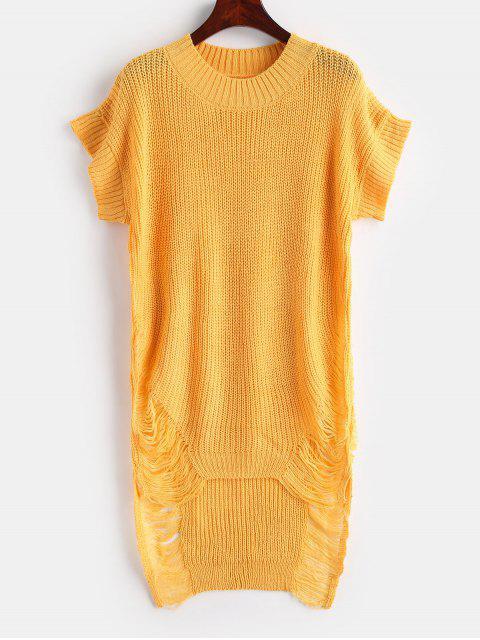 Distressed High Low Tunika Pullover - Helles Gelb Eine Größe Mobile
