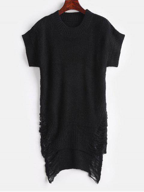 Distressed High Low Tunika Pullover - Schwarz Eine Größe Mobile